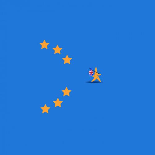 Brexit star walking off EU flag.